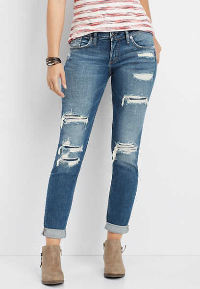Silver Jeans Co.® Sam backed destructed boyfriend jean
