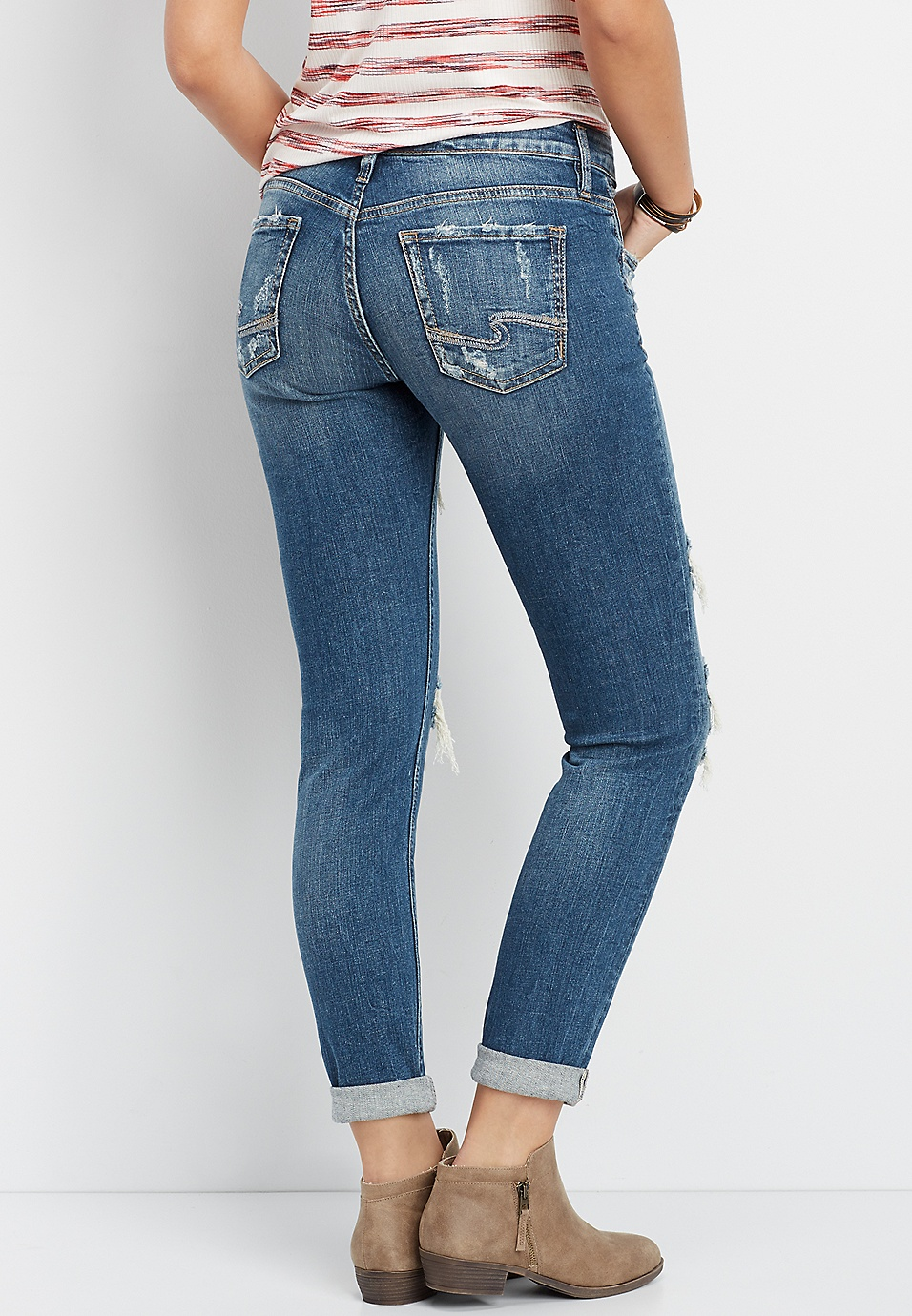 3c94bff1fee Silver Jeans Co.® Sam backed destructed boyfriend jean