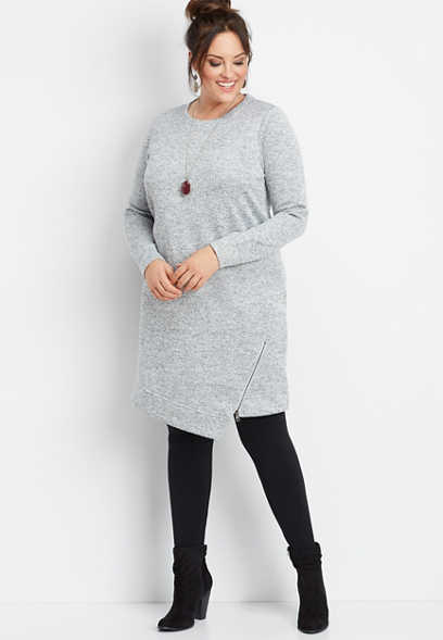 plus size asymmetrical zip hem dress