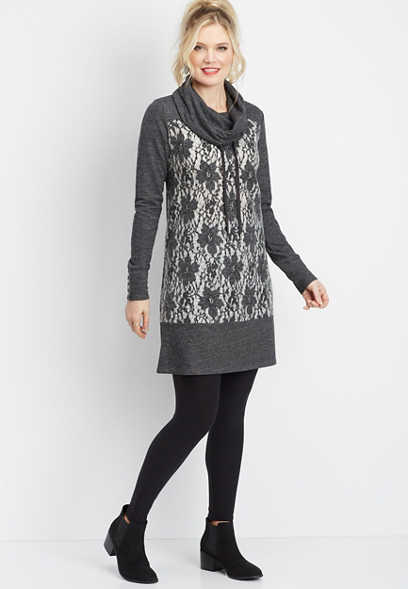 lace front cowl neck dress