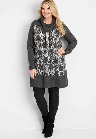 plus size lace front cowl neck dress