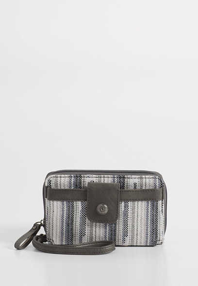 stripe cell phone wristlet