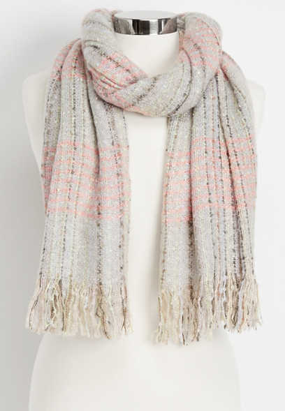 speckled fringe oblong scarf
