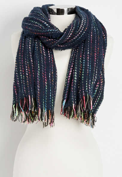 colorful stripe oblong scarf