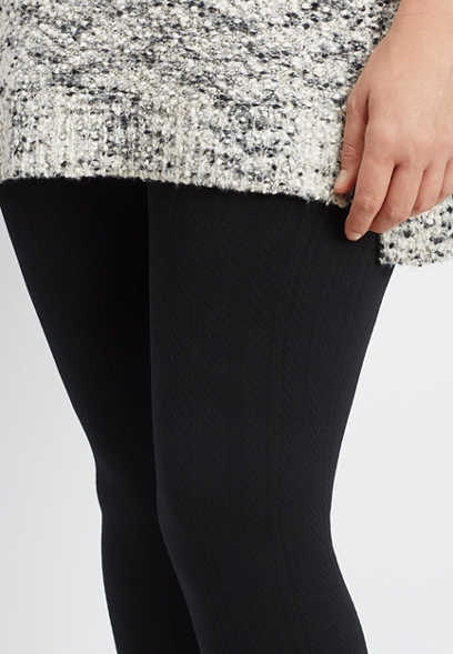 plus size fleece lined cable knit legging
