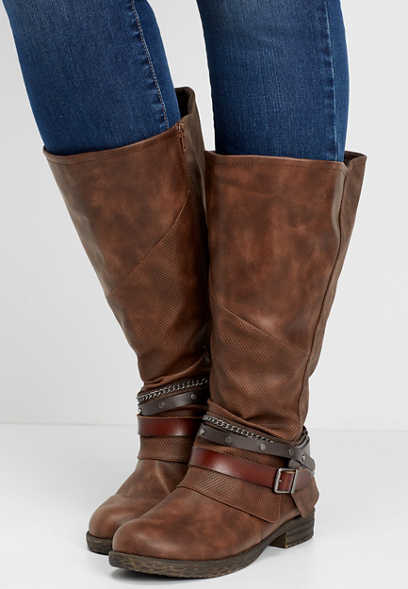 Ginger wide calf tall moto boot