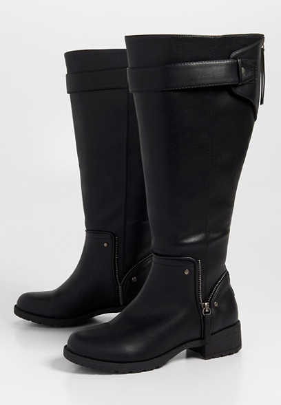 Genna wide calf zip top boot