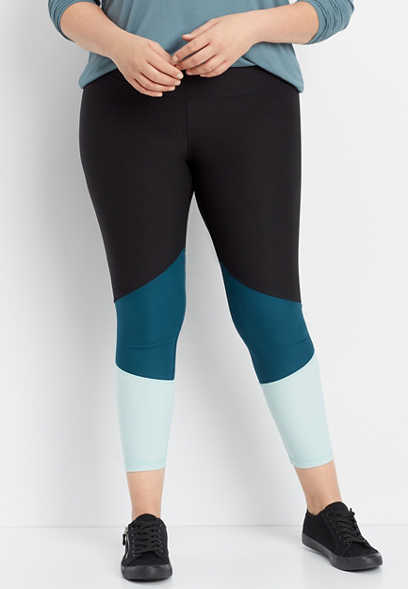 plus size color block 7/8 active legging