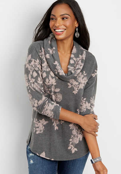 24/7 floral cowl neck tunic pullover