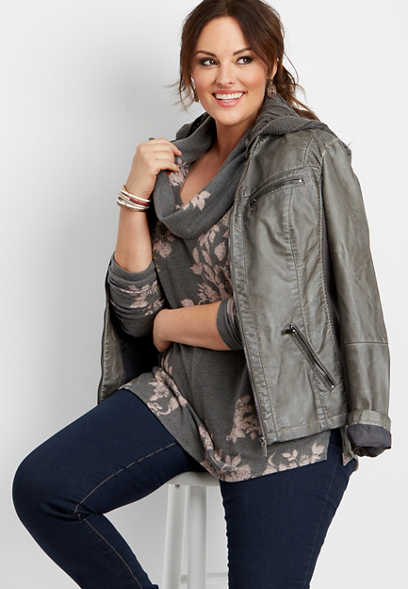 plus size 24/7 floral cowl neck tunic tee