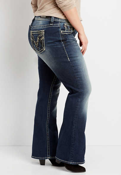 plus size Vigoss® dark wash embellished boot cut jean