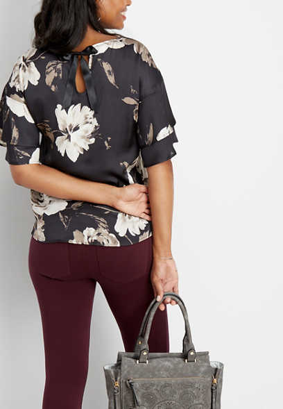floral tie back pullover
