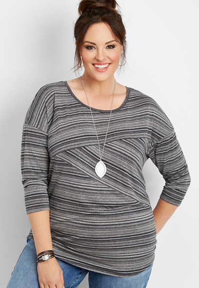 plus size 24/7 drop shoulder stripe spliced tee