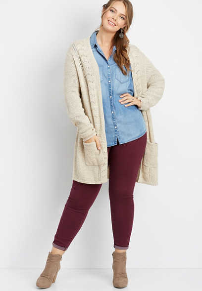 plus size cable duster cardigan