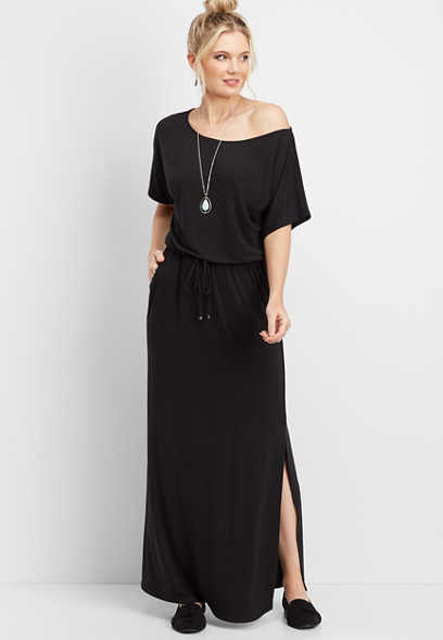 off the shoulder solid maxi dress