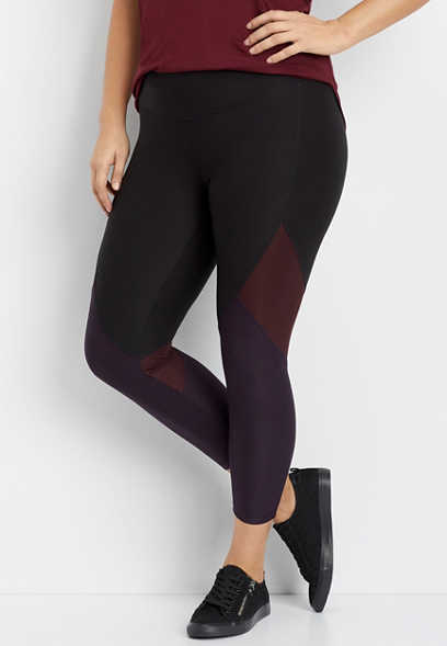 plus size tonal colorblock 7/8 active legging