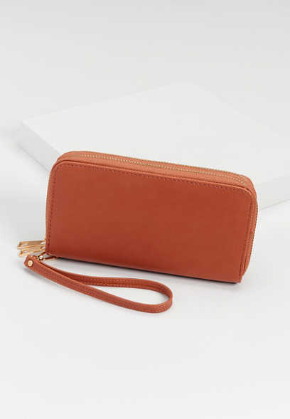 double zip around wristlet