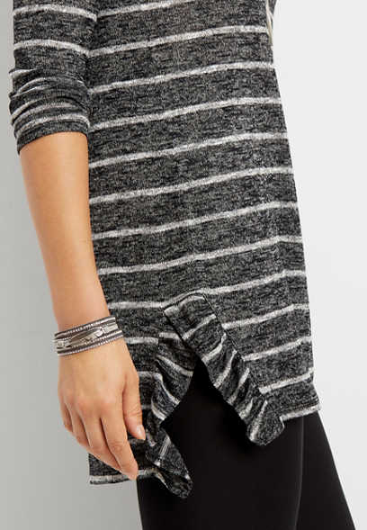24/7 ruffled stripe tunic tee