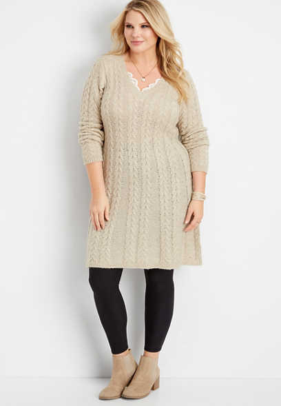 plus size long sleeve cable sweater dress