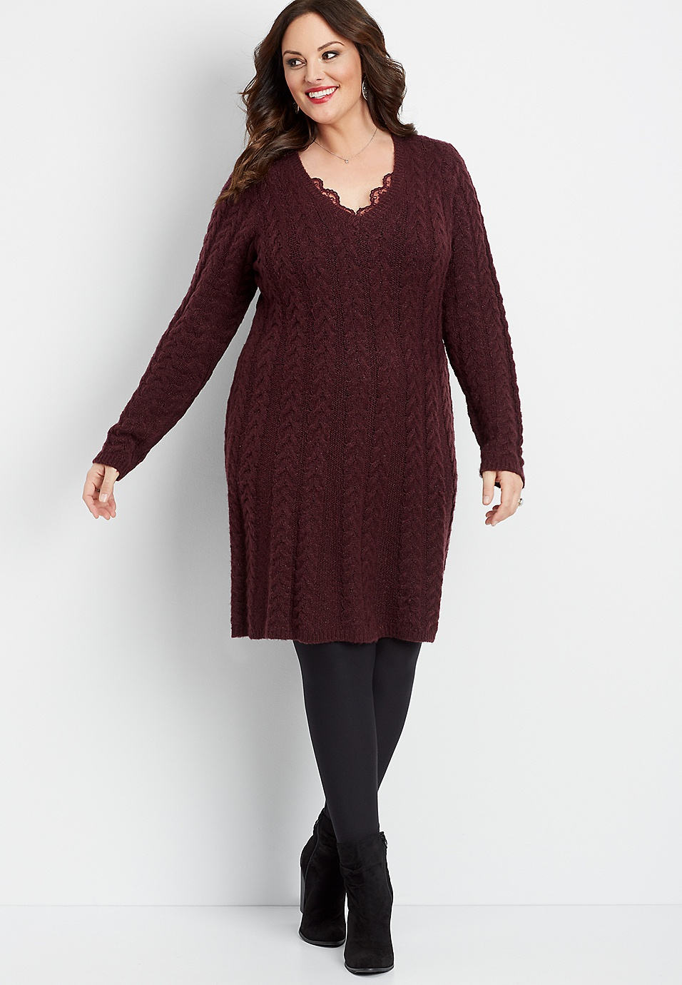 plus size long sleeve cable sweater dress | maurices