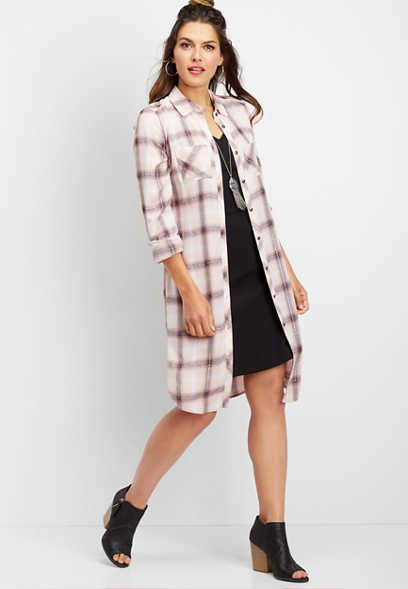 plaid button down duster