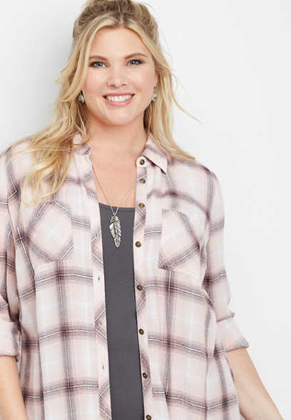 plus size plaid button down duster