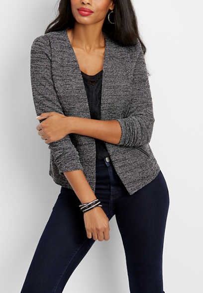 black and gray textured blazer