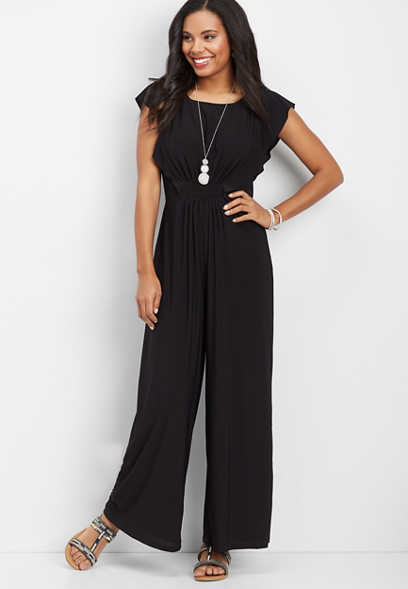 ruffled sleeve solid jumpsuit