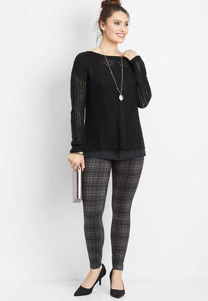 chiffon hang down twofer sweater