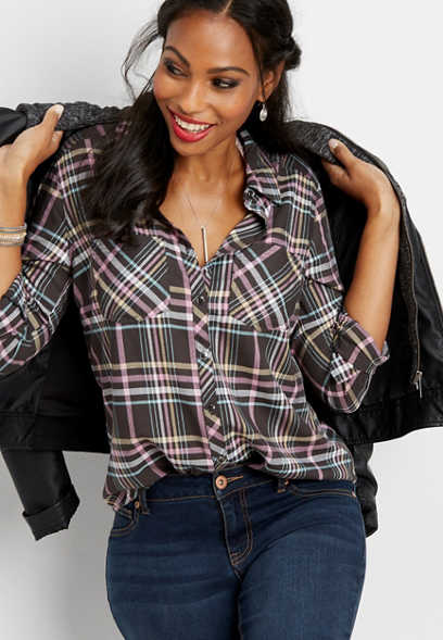 two pocket button down plaid shirt