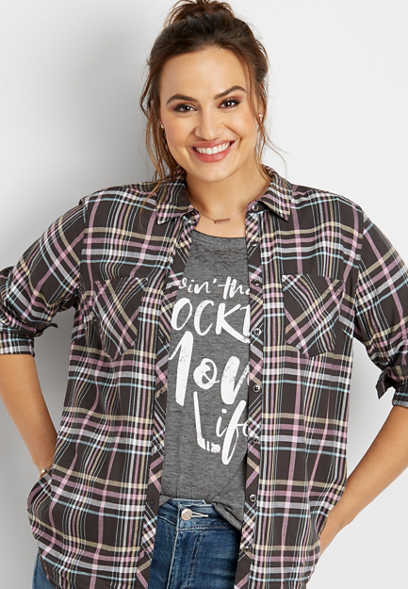 plus size two pocket button down plaid shirt