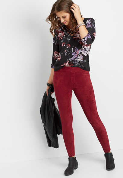 burgundy faux suede skinny ankle pant