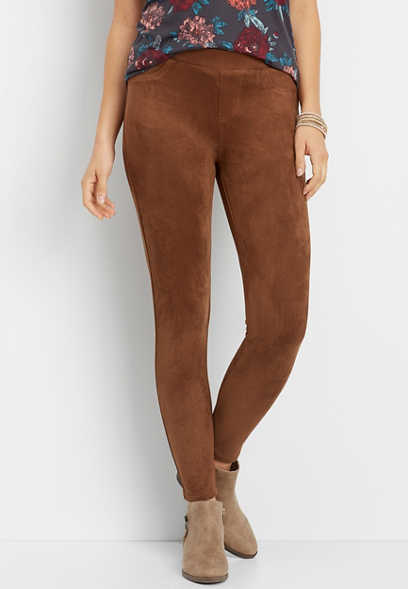 brown faux suede skinny ankle pant