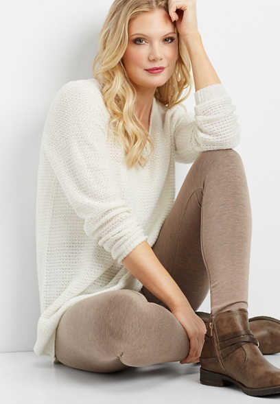 oatmeal heather fleece lined legging