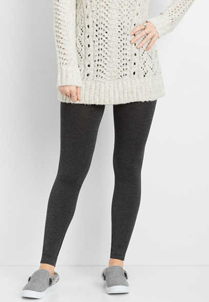 charcoal heather fleece lined legging