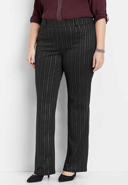 plus size silver stripe pull on boot cut pant