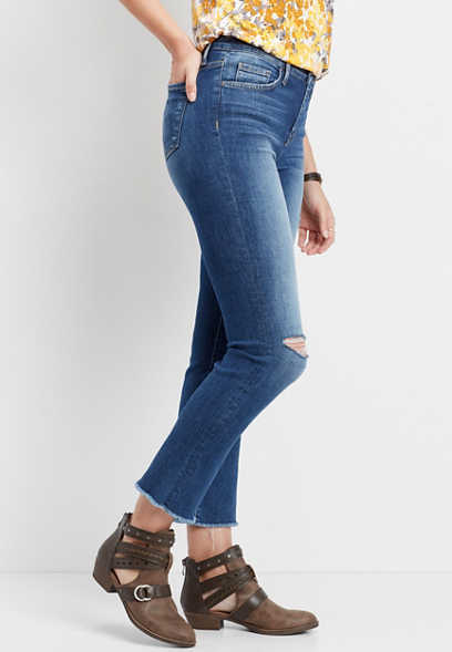Flying Monkey™ high rise cropped fray hem jean
