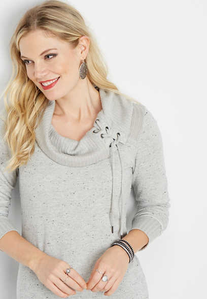 lace up neck rib trim pullover