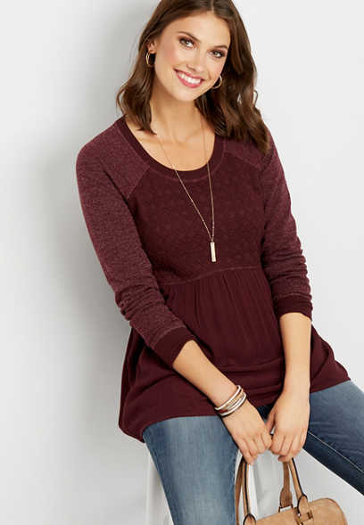 solid long sleeve peplum top