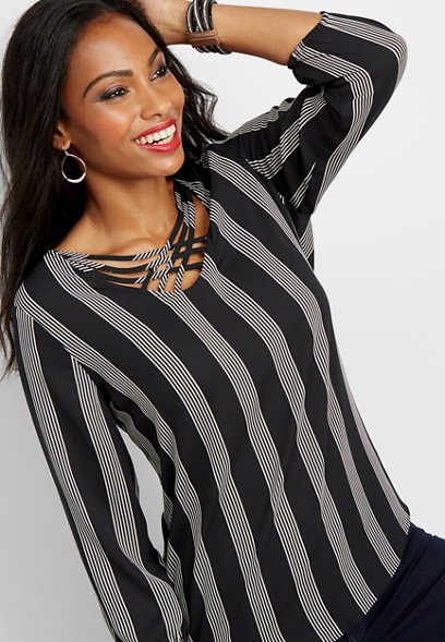 stripe lattice neck blouse
