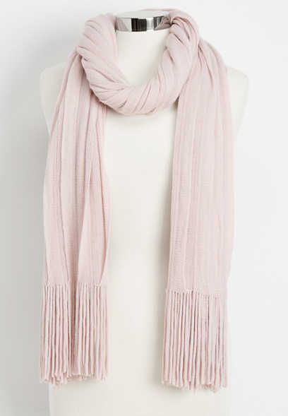 ruffled fringe oblong scarf
