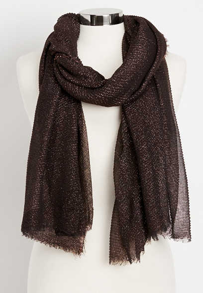 pleated shimmer oblong scarf