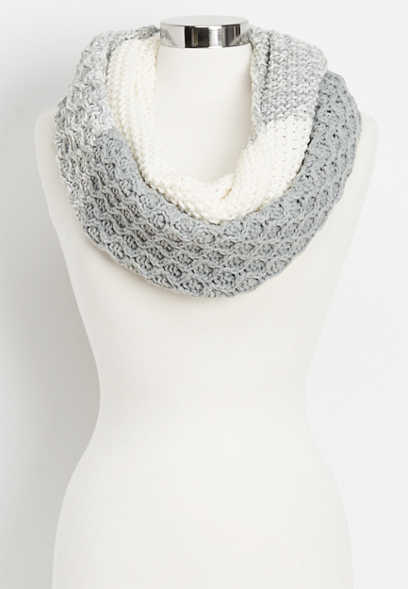 cable striped infinity scarf