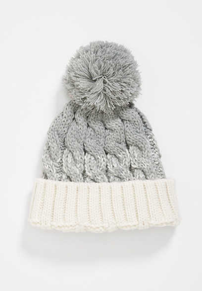 cable knit striped pom hat