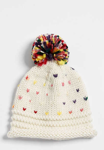 confetti multi color pom hat