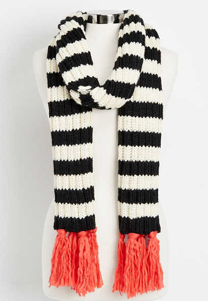 striped oblong fringe scarf