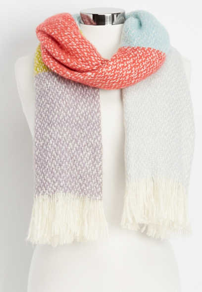 large multi stripe oblong scarf