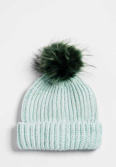 solid knit pom hat