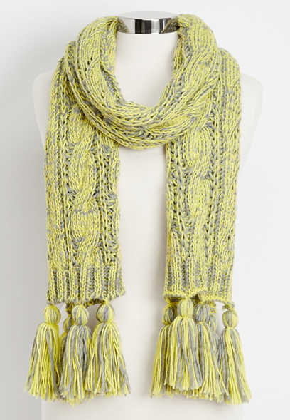 cable knit oblong scarf