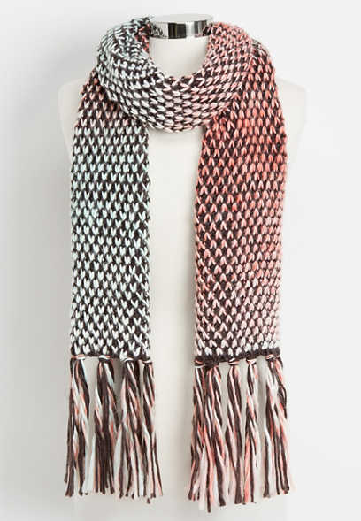 multi colored cable knit oblong scarf